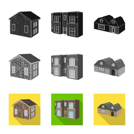 Isolated object of facade and housing sign. Collection of facade and infrastructure stock vector illustration.