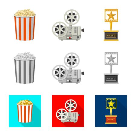 Isolated object of television and filming icon. Set of television and viewing stock vector illustration. Ilustração