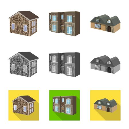 Isolated object of facade and housing logo. Set of facade and infrastructure stock symbol for web. Illustration