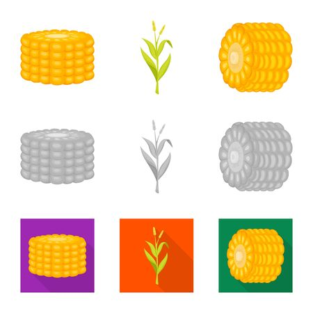 Isolated object of cornfield and vegetable icon. Collection of cornfield and vegetarian vector icon for stock. Иллюстрация