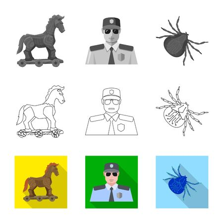 Isolated object of virus and secure icon. Set of virus and cyber vector icon for stock.