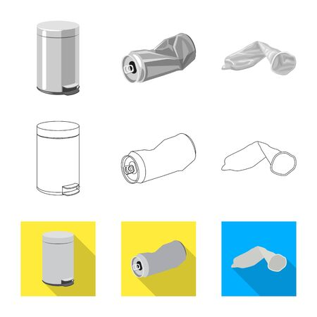 Vector illustration of dump and sort icon. Collection of dump and junk vector icon for stock. Banque d'images - 124997147