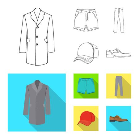 Vector illustration of man and clothing icon. Set of man and wear vector icon for stock.