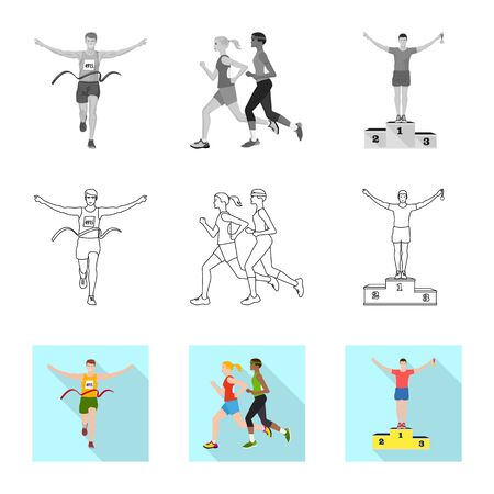 Vector illustration of sport and winner symbol. Set of sport and fitness stock vector illustration.