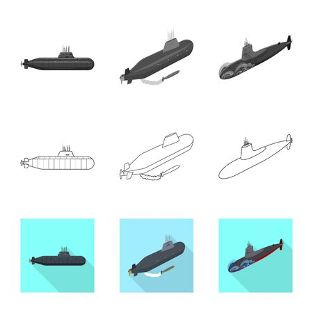Vector illustration of war and ship sign. Collection of war and fleet stock vector illustration.  イラスト・ベクター素材
