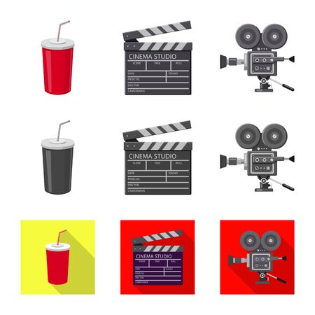 Isolated object of television and filming symbol. Set of television and viewing stock symbol for web. Иллюстрация