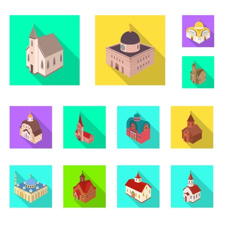 Isolated object of temple and historic icon. Collection of temple and faith stock symbol for web.