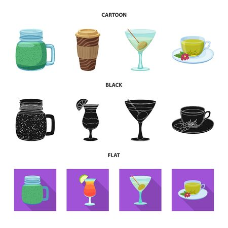 Vector design of drink and bar icon. Collection of drink and party vector icon for stock.