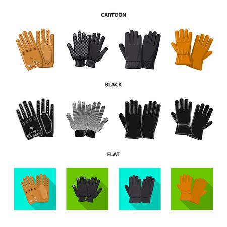 Vector design of glove and winter logo. Collection of glove and equipment vector icon for stock.