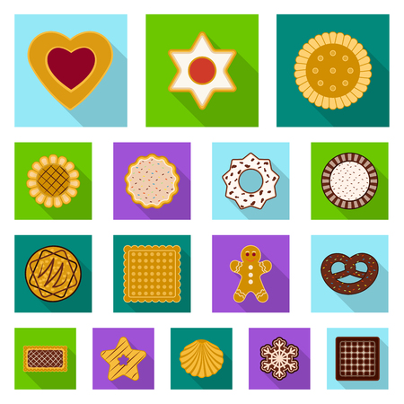 Isolated object of biscuit and bake icon. Set of biscuit and chocolate stock symbol for web.
