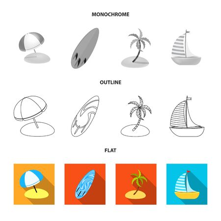 Vector illustration of equipment and swimming symbol. Collection of equipment and activity stock symbol for web.