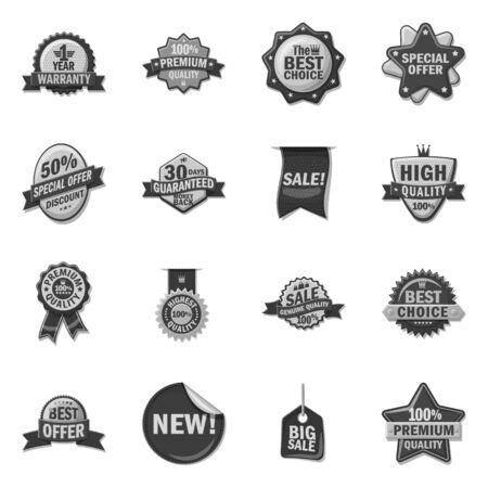 Vector design of emblem and badge sign. Set of emblem and sticker stock vector illustration. Illustration