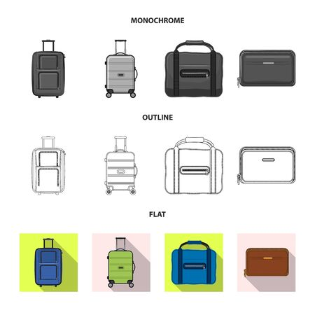 Isolated object of suitcase and baggage sign. Collection of suitcase and journey stock symbol for web.