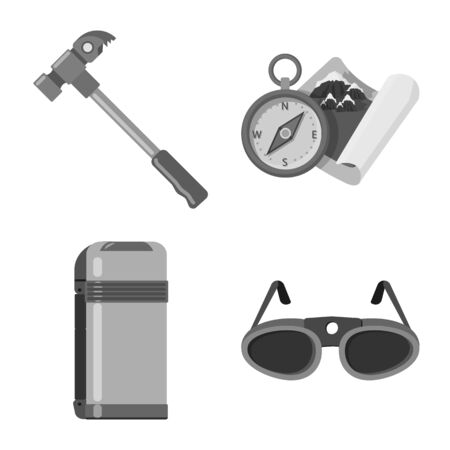 Isolated object of mountaineering and peak icon. Set of mountaineering and camp vector icon for stock. Illustration