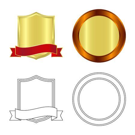 Vectorontwerp van embleem en kenteken. Set van embleem en sticker aandelensymbool voor web.