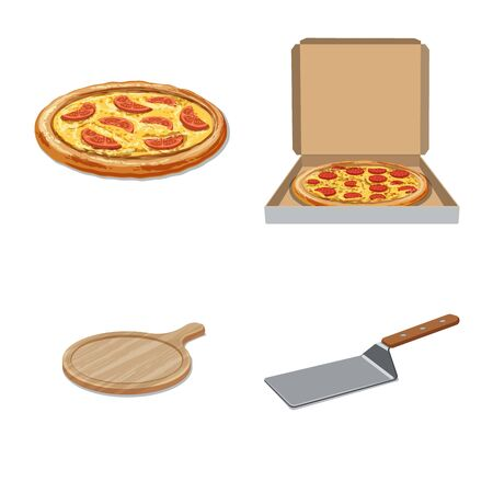 Vector design of pizza and food symbol. Collection of pizza and italy stock vector illustration. Stock Illustratie