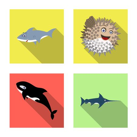 Isolated object of sea and animal sign. Set of sea and marine stock symbol for web.