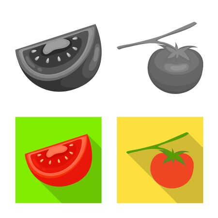 Vector illustration of vegetable and delicious icon. Set of vegetable and natural vector icon for stock.
