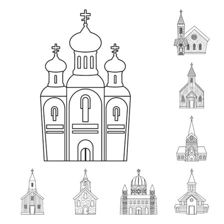 Isolated object of architecture and faith sign. Collection of architecture and temple vector icon for stock.