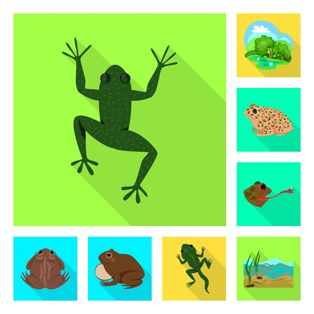 Isolated object of wildlife and bog sign. Set of wildlife and reptile stock symbol for web.
