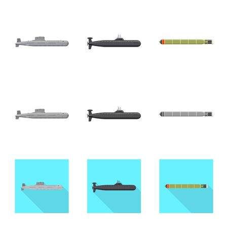 Vector design of war and ship sign. Set of war and fleet vector icon for stock. Stock Illustratie
