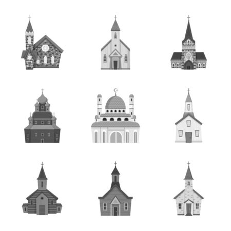 Vector illustration of architecture and faith icon. Collection of architecture and traditional vector icon for stock.