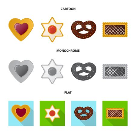 Vector design of biscuit and bake sign. Set of biscuit and chocolate vector icon for stock.