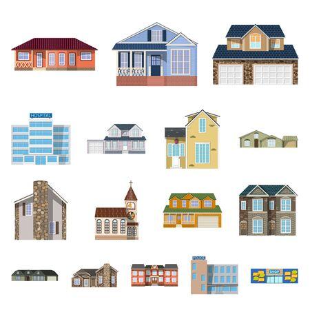Vector ontwerp van gebouw en voorkant pictogram. Set van gebouw en dak aandelensymbool voor web.