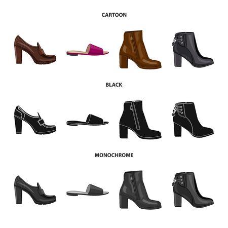 Vektordesign von Schuhen und Frauenzeichen. Sammlung von Schuhen und Fußvektorsymbolen für Lager.