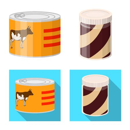 Vector design of can and food logo. Collection of can and package stock symbol for web. Archivio Fotografico - 125155057