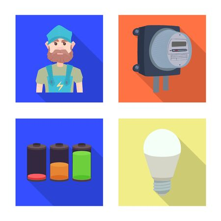 Isolated object of electricity and electric icon. Set of electricity and energy vector icon for stock.
