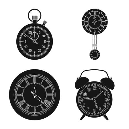 Vector illustration of clock and time sign. Set of clock and circle stock vector illustration. Illustration