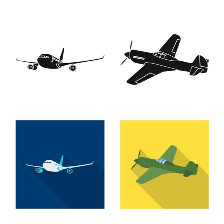 Vector design of plane and transport icon. Set of plane and sky stock symbol for web. Illustration