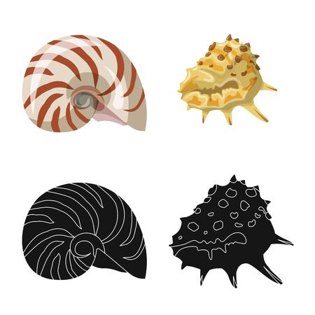 Vector design of animal and decoration icon. Collection of animal and ocean vector icon for stock.