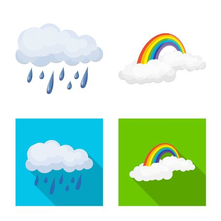 Vector design of weather and climate symbol. Set of weather and cloud vector icon for stock.