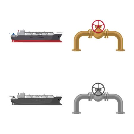 Vector illustration of oil and gas symbol. Set of oil and petrol stock vector illustration.