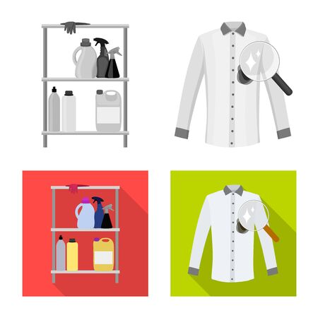 Vector illustration of laundry and clean icon. Collection of laundry and clothes stock vector illustration.