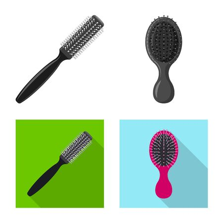 Vector illustration of brush and hair logo. Set of brush and hairbrush vector icon for stock. Illustration