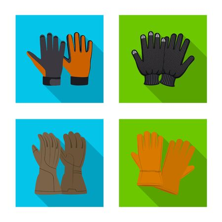 Vector design of glove and winter icon. Collection of glove and equipment stock vector illustration.