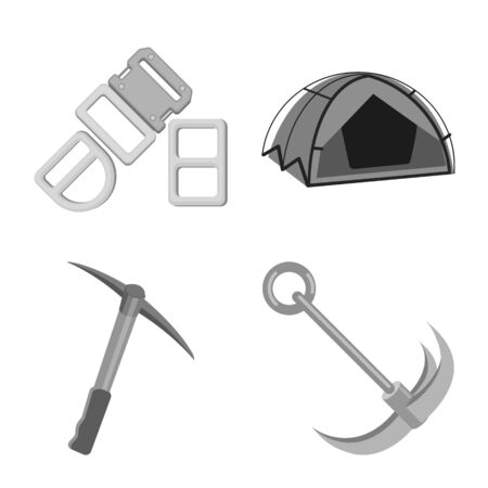 Vector design of mountaineering and peak logo. Set of mountaineering and camp stock symbol for web.