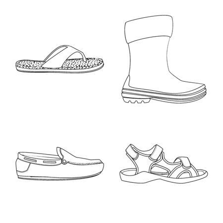 Vector illustration of shoe and footwear symbol. Collection of shoe and foot stock vector illustration. Illustration