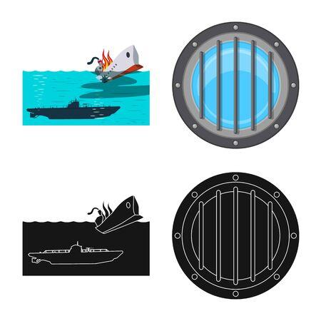Vector illustration of war and ship logo. Set of war and fleet stock vector illustration. Illustration