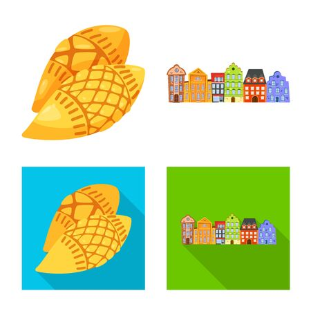 Vector illustration of traditional and tour logo. Set of traditional and landmarks vector icon for stock. Illustration