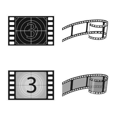 Vector design of television and filming symbol. Collection of television and viewing stock symbol for web.