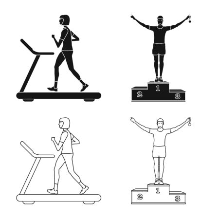 Vector illustration of sport and winner symbol. Set of sport and fitness stock symbol for web.