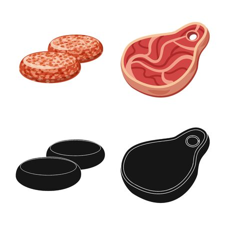Isolated object of meat and ham logo. Collection of meat and cooking vector icon for stock. Çizim