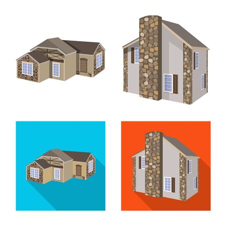 Vector illustration of facade and housing symbol. Collection of facade and infrastructure vector icon for stock.