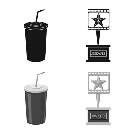 Vector design of television and filming icon. Collection of television and viewing vector icon for stock. Illustration