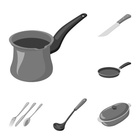 Vector design of kitchen and cook icon. Set of kitchen and appliance vector icon for stock.