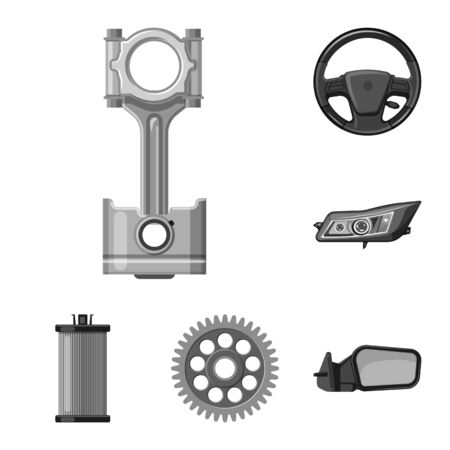 Vector design of auto and part symbol. Set of auto and car stock vector illustration.